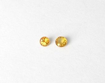 Genuine Yellow Sapphire, Round Cut, lot (2) of 0.66 carat
