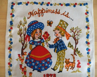 "Unused Vintage 1978 Calendar Towel with Sequins says ""Happiness Is.."""