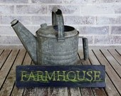 FARMHOUSE Hand-Painted, Distressed Wood Sign in Black and Green.  Country, Farm, Rustic, Primitive Decor