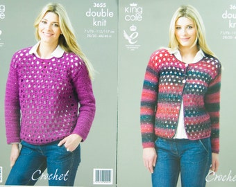 Crochet Pattern King Cole 3655 for Cardigan and Sweater for Double Knit Yarn