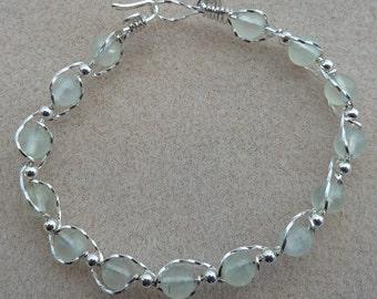 Woven Prehnite Bracelet