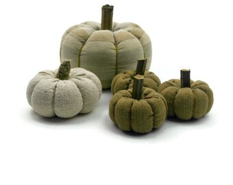 Rustic Thanksgiving Home Decor, Fabric Stuffed Pumpkins, Fall Decor, Pumpkin Decor, Rustic Halloween Decor - set of 5
