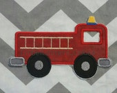 Red fire truck - iron embroidered fabric applique patch embellishment- ready to ship