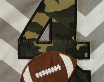 Camo birthday number 4 with football - iron embroidered fabric applique patch embellishment- ready to ship