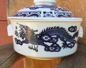 Vintage Blue Covered Dish
