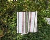 Lovely Vintage Striped Hand Woven Linen Sauna Bathroom Towel. Swedish Vintage Linen Towel