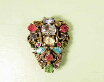Hollycraft Pastel Brooch - Vintage Multi Color Rhinestone Gold Tone 1950 Pin