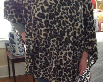 fleece animal print poncho