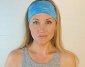 Yoga Headband  Blue Workout Headband Boho Headband Running Headband No Slip Athletic Activewear