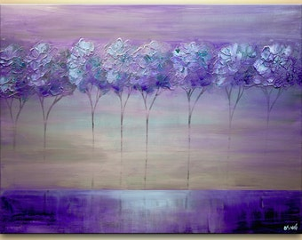 Abstract Contemporary Purple Blooming Trees Acrylic Painting Heavy Palette Knife Texture Purple, Gray, Light blue by Osnat Ready to Hang
