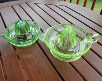 Green Glass Juice Reamers