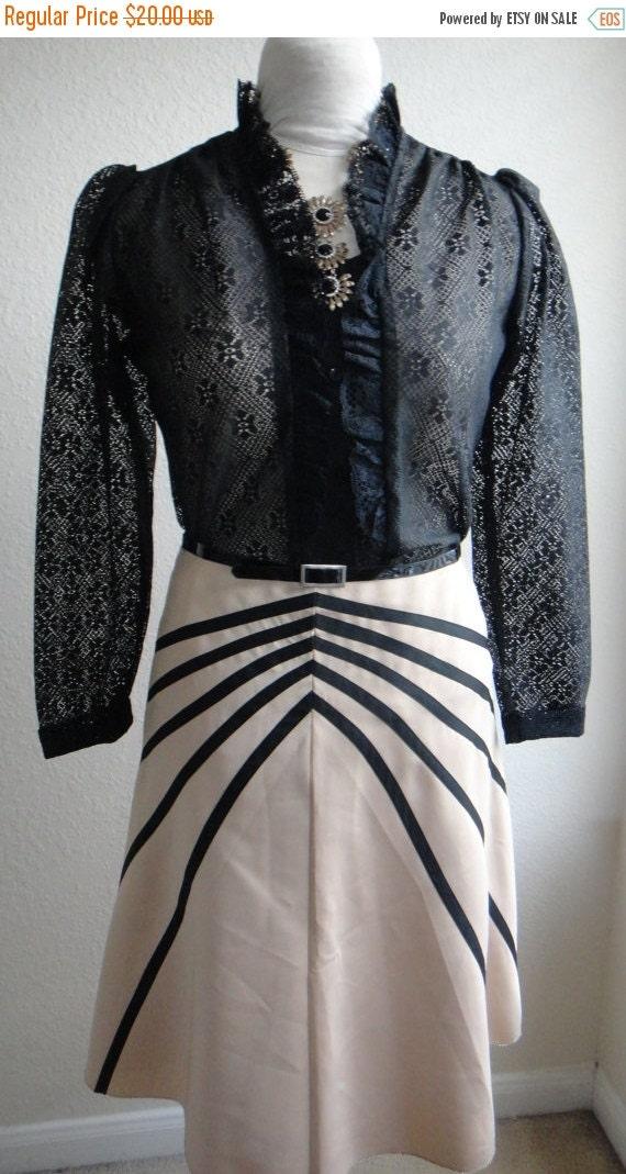 ON SALE Tan and Black A Line Satiny Skirt