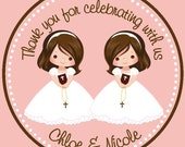 First Communion Twin Girls/Siblings/Cousins Favor Tags - Tags Only
