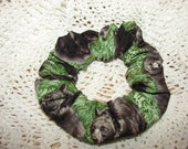 BEARS Fabric Hair Scrunchies - Unique fabric scrunchie with black bears and cubs, forest, woodland, animals, wild