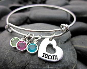 Adjustable Bangle Bracelet - Mother's Bracelet - For Mom - Heart and Birthstone