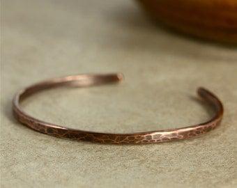Aged Hammered Copper Cuff Bracelet, Skinny Cuff, Southwestern Cuff, Rustic Cuff, Southwestern Bracelet, Copper Bracelet