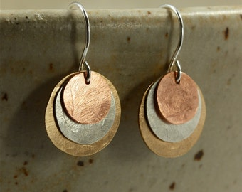Hammered Copper, Silver, Bronze Earrings, Hammered Silver Earrings, Sterling Silver Earrings, Hammered Copper Earrings, Mixed Metal Earrings