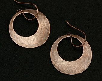 Hammered Copper Washer Earrings, Dangle Earrings, Hammered Copper Earrings, Aged Copper Earrings, Rustic Earrings, Large Earrings