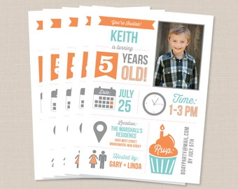 Infographic Kids Birthday Party Invitation Boy or Girl - Printed or DIY