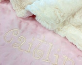 Pet Blanket Ivory Pink Dot Minky Back Personilization included