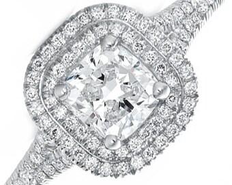GIA Certified Cushion Diamond Halo Style Engagement Ring 2.55ct 18k