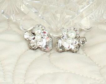 Art Deco Bridal Earrings- Rhinestone Wedding Earrings- Bridal Cluster Earrings -Pearl Bridal Studs- Vintage Inspired Studs- Brass Boheme
