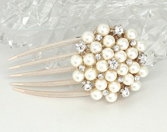 Pearl Bridal Comb- Hair Accessories- Bridal Hairpiece- Pearl Bridal Hairpiece-Pearl Wedding Hairpiece- Wedding Hair Accessories-Brass Boheme