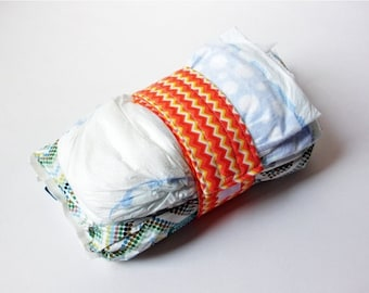 Clearance Chevron Diaper Strap - Orange, Yellow and White Chevron