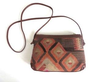 Vintage Kilim and Leather Crossbody Purse/ USA Shop