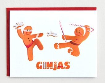"Funny ""Ginjas"" Christmas Card, Gingerbread Holiday Card"