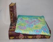 Blue Green and Purple Floral Flannel with Teal Fleece Snuggle Bag