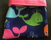 Blue Multicolored Whales Fleece and Pink Fleece Snuggle Bag