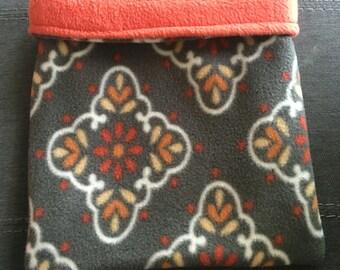 Grey Floral Fleece and Burnt Orange Fleece Snuggle Bag
