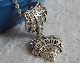 Grandma Grandmother Heart Love Necklace Pendant Silver Crystal family