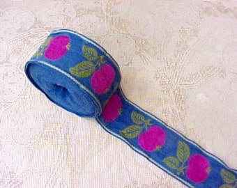 Beautiful Vintage German Trim with Fruits in Deep Pink and Blue