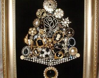 Vintage Jewelry Framed Christmas Tree~CAMEO LOVE Jewelry Tree ~ Black Velvet ~ Cameos ~ Love Heart ~ Angel ~ Keepsake