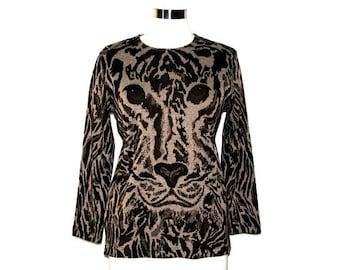 Vintage 80s ECCOBAY Brown Knit Leopard Shirt- Size S/M