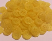 20 Swirled Yellow Octagon Shirt Buttons, Frosted finish - size 13mm, 4 holes, Lemon yellow color, great for baby showers, scrapbooks, cards