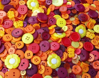 """100 Mixed Solar Flare Buttons - Red, Dark Red, Cranberry Red, Burgundy, Orange, Deep Orange, Tangerine, Yellow, sizes 1/4"""" up to 1-1/4"""""""