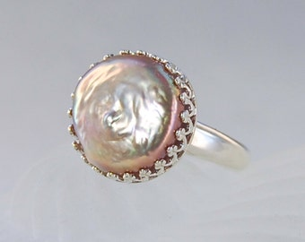 Coin Pearl Ring .  14 mm Champagne Color . Sterling . Size 7