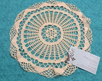 Vintage 10 inch Ivory Hand Crochet doily for housewares, home decor, pillows, christmas, holiday, bags by MarlenesAttic