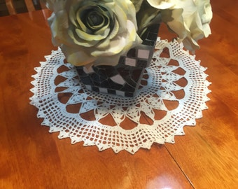 Vintage 16 inch Hand crochet white doily for housewares, home decor, pillows, sewing, crafts, shabby chic, bags by MarlenesAttic