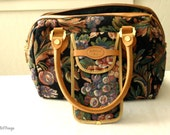 Vintage 1980's Gobelins Art Tapestry Handbag Satchel Carpet Bag