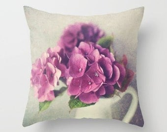 Hydrangea Flower Pillow, Throw Pillow, Decorative Pillow, Christmas Gifts, Winter, Holiday Gifts, Floral Pillow, Gifts For Her, Shabby Chic