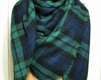 Sat-Sun SALE Blanket Scarf for Women, Green, Blue-Purple, Black, Zara Tartan Inspired, Women's Soft Oversized Large Winter Scarves
