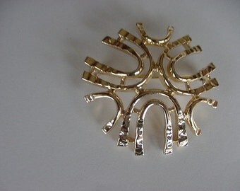 Vintage Sarah Cov Pin/Brooch, Sea Sprite, Goldtone Geometric, Signed