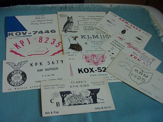 10 Vintage CB Radio Postcards, Call Numbers, Kentucky, Indiana, Texas, Ohio, Michigan, New York, New Mexico, Collectibles, Ephemera