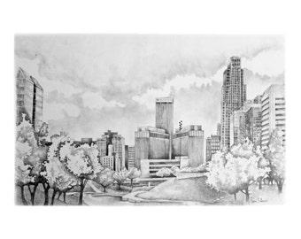 "Omaha Drawing Pencil art print 10""x15"""