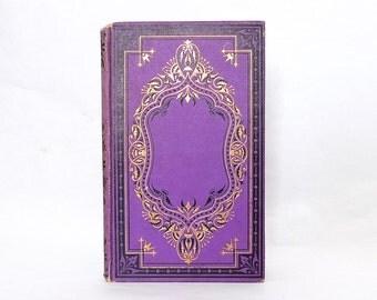 Unique Guest Book, Wedding Journal, Vintage Blank Guestbook, Anniversary Journal, Elegant Purple and Gold Rebound Book, Spring Wedding Idea