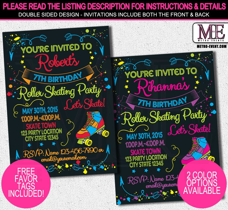 skate party invitation 1980's invitation neon party, Party invitations